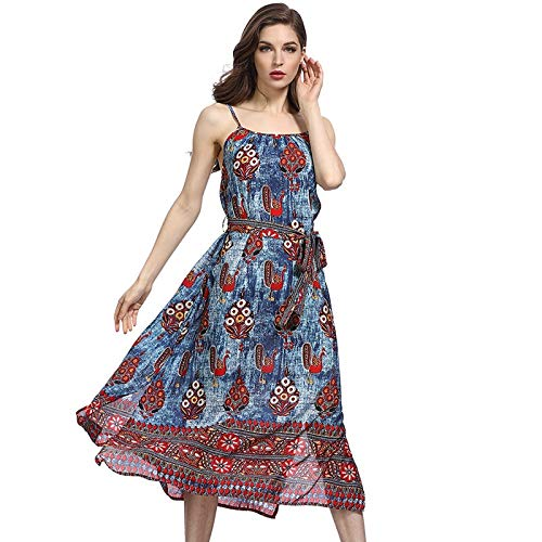 QUNLIANYI Abikleider Lang Boho Dress Side Split Floral Long Maxi Kleider Frauen Backless Sexy Elastic Denim Front Lace Up Bow XL Bow-front Floral Dress