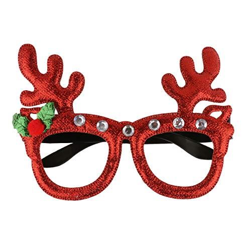 dPois Lustig Brille Weihnachtsbrille Rentier Elchgeweih Weihnachtsbaum Brille Weinachten Kostüm Zubehör Dekoration Nikolaus Kostüm Verkleidung Rot Grün Rot B One Size