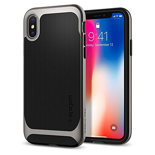 Spigen cover iphone x, [neo hybrid] custodia iphone x con protezione flessibile interna e telaio rigido rinforzato per apple iphone x (2017) - gunmetal - 057cs22165