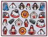 Brubaker 22-TLG. Set Weihnachtsbaumschmuck aus Holz, bis zu 4 cm große Figuren, handbemalt