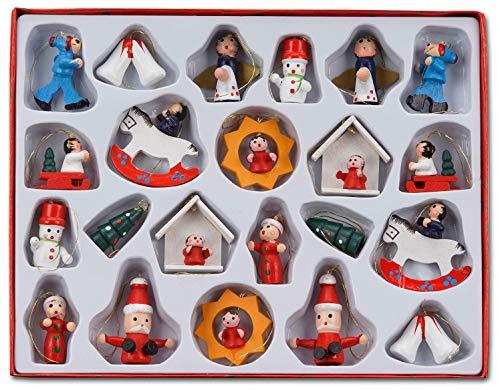 Brubaker set di 22 pezzi di addobbi natalizi in legno, statuine alte fino a 4 cm, dipinte a mano e ideate per essere appese all'albero di natale