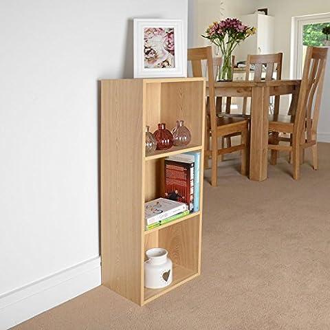 3 Tier Oak Wooden Bookcase Shelving Display Storage Wood Shelf Shelves Unit
