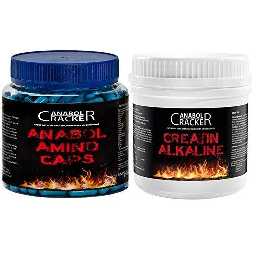 Anabol Amino Caps, 350 Kapseln, Aminosäuren Arginin Bcaa + 240 Kapseln Creatin Alkaline / Kre-Alkalyn