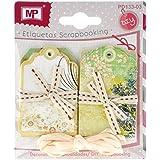 MP PD133-03 - Set de 12 etiquetas decoradas para scrapbooking, 7 x 4.5 cm