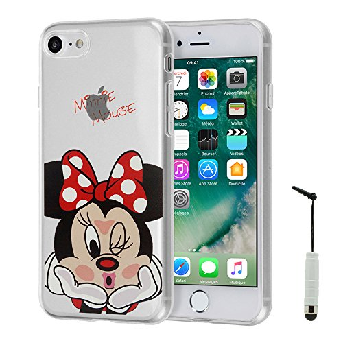 "VComp-Shop® Transparente Silikon TPU Handy Schutzhülle mit Motiv Cartoon Disney für Apple iPhone 7 4.7"" + GRATIS Displayschutzfolie - Winnie the Pooh Minnie Mouse + Mini Eingabestift"