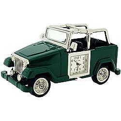 Park Lane silberfarbene grüner Safari Jeep Sammelminiaturuhr PLCLK153