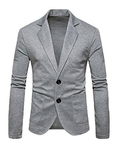 Herren Beiläufiger Sakko Blazer Jacke Zwei Tasten Freizeit Anzug Jacken Reine Farbe Jackett Anzugjacken Hellgrau L