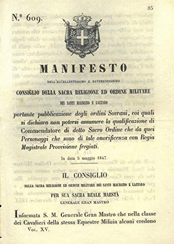 relativo alla nomina di Commendatore del Sacro Ordine Militare dei Santi Maurizio e Lazzaro.