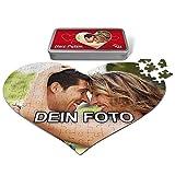 PhotoFancy® - Herz Liebes Puzzle mit Foto bedrucken lassen - Fotopuzzle in Herzform mit eigenem Bild personalisieren (114 Teile (A3))
