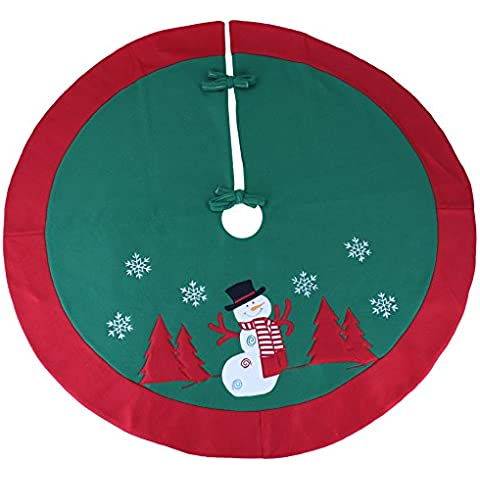 Wewill Falda del árbol de Navidad Decoración Círculo Escena de Santa falda del árbol del muñeco de nieve