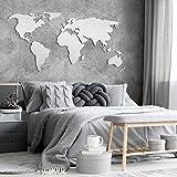 K&L Wall Art Alu-Dibond zilvereffect 3D wereldkaart wereldkaart wereldlanden (180x 89cm, zilver)