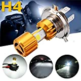 #10: Ezip H4 Missile Projector LED Headlight Bulb Beam with Driving DRL Light for Hero Splendor Pro (9W, Golden/Silver, SSML150718/88) - Set of 1