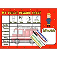 kids2learn TOILET TRAINING REWARD CHART (FIREMAN) - Potty / Toilet reusable chart with 90 star stickers and pen