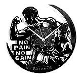 Instant Karma Clocks Orologio da Parete in Vinile Vintage Handmade Pain No Gain Allenamento Gym Fitness Palestra