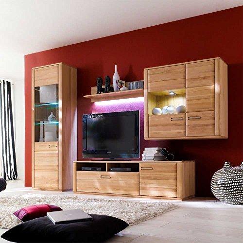 TV Wohnwand Phelix aus Kernbuche (4-teilig) Ohne Beleuchtung Pharao24