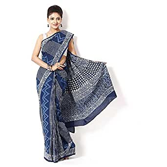 Aaradhya Indigo Dabu Print Cotton Saree For Women