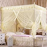 KAMIERFA 4 Corner Post Bed Canopy Mosquito Net With Frames Insect Bug Protection£¨Yellow Full/Queen Sized£©