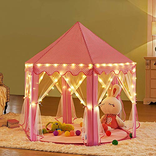 UthTent Kids Pink Princess Castle Playhouse With Star Lights Play Tent For Girls Indoor Outdoor