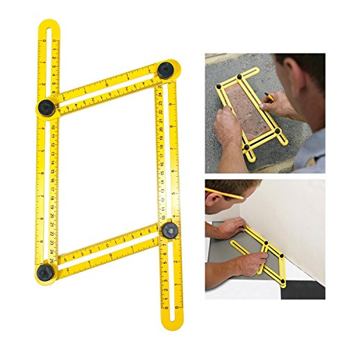 niceEshop(TM) Angleizer Template Tool,Angle Measure Ruler,Multi Angleizer Template Ruler for Builders or Engineer,Yellow+Black Test