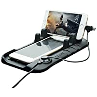 thanly supporto per Pad in Silicone Tappetino Auto Cruscotto per supporto di ricarica Cradle Dock con 2 in 1 Cavo di ricarica per iPhone 6 6S Plus 5 5S 5 C Samsung Galaxy S7 S6 S5 S4 S3, HTC, LG e GPS