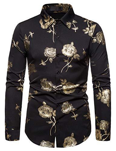 WHATLEES Herren golden Barock Langärmlig Hemden Bronzieren Bronzing floral Blumen Blatt Muster Shirt