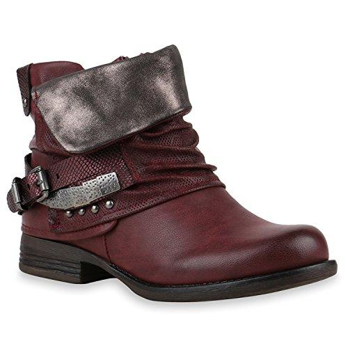 Damen Stiefeletten Biker Boots Schnallen Nieten Knöchelhohe Stiefel Leder-Optik Schuhe 120528 Dunkelrot 39 Flandell