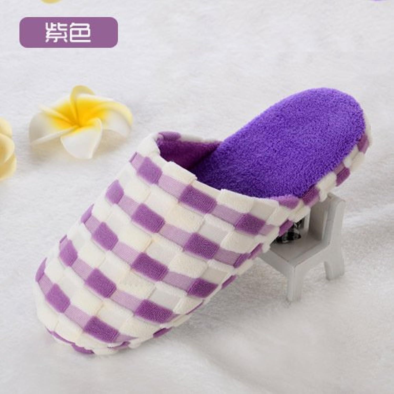 Y-Hui Bump zapatillas, zapatillas de algodón, cuadrado de color casa remolque algodón,3839,violeta