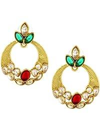 The Jewelbox Traditional Chand Bali Kundan Polki American Diamond CZ Earring For Women