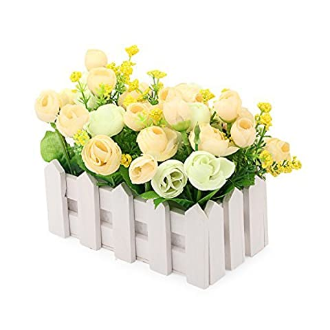 Louis Garden Artificial Flowers Fake Rose in Picket Fence Pot Pack - Small Potted Plant (White-Green) by Louis Garden