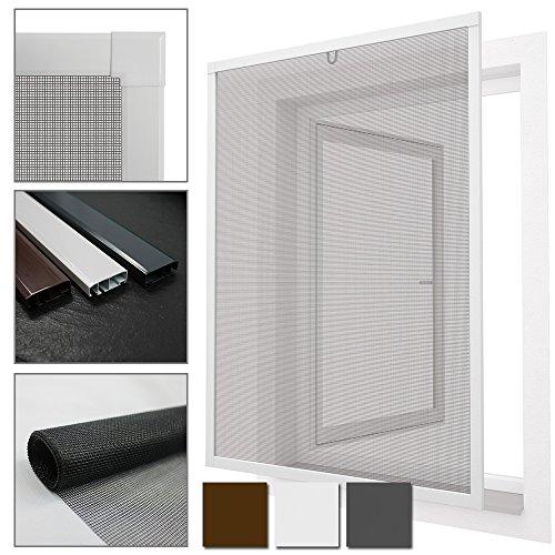 PROHEIM Insektenschutz Fenster Comfort 120x150 cm mit Alurahmen in Weiß - Fliegengitter aus Fiberglas - kürzbarer Spannrahmen ohne Bohren & Schrauben mit Dichtungsbürste