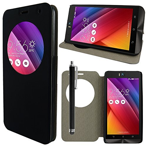 ANNART Hülle Cover Ansicht Schutzhülle Flip- Etui Leder Cover für Asus Zenfone Selfie ZD551KL + Stylus - schwarz