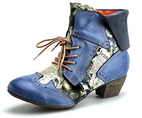 Tma 6188 Botas Das Mulheres De Couro Sapatos Femininos Azul