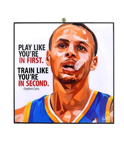 Pop-Art berühmter Basketballspieler Inspiration Zitate [Kobe Bryant] gerahmtes Acryl-Leinwand, Kunstdruck, modernes Wanddeko, 25,4 x 25,4 cm Modern 10 x 10 inch Stephen Curry -