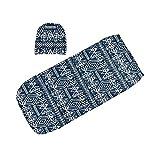 BEARCOLO® - Couverture de réception de bébé - 0-3 mois - Sac de couchage chaud pour bébé - Ensemble de chapeaux d'emmaillotage - Cadeau de fête prénatale