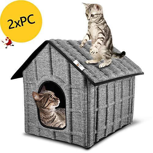 PUPPY KITTY Katzenhaus für Draußen,2 Stück Winterfest Katzenhöhle Faltbar Hautier Haus mit Abnehmbarem Matratze Weich und Warm für Hund Katze Hündchen Kaninchen