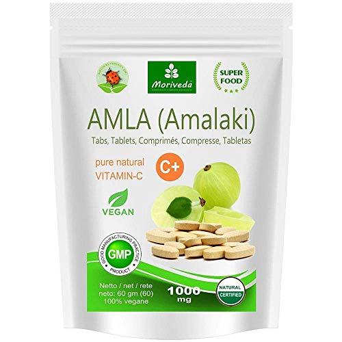 Amla Tabletten 1000mg (60 oder 180 Stk.) Vitaminbombe - 100% Naturprodukt mit Vitamin-C, Chrom, Mineralstoffen, Proteinen und B-Vitaminen. Immunsystem, Antioxidans (60 Presslinge)
