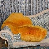 DUANG Tappeto Vello di Pecora 7-8cm Lunga Pelliccia Morbida Sedile Cuscino Soffice Decorativa Pecora Tappeto,Camel-29×39Inch(75×100cm)