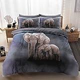 Eirene Threadz Bettwäscheset mit Kissenbezug, Baumwollmischgewebe, bedruckt mit Elefanten-, Katzen- und Einhorn-Design, Polycotton, elefant, King Size