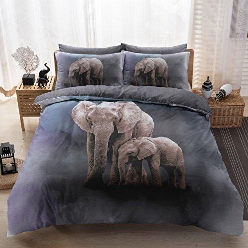 Eirene Threadz Bettwäscheset mit Kissenbezug, Baumwollmischgewebe, bedruckt mit Elefanten-, Katzen- und Einhorn-Design, Polycotton, elefant, Doppelbett -