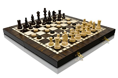 3in1 LARGE 40cm / 16in 3 Spiele in 1, Holz Schach, Backgammon und Dame / Draughts Spiel mit Staunton Figuren, Hand Classic Game