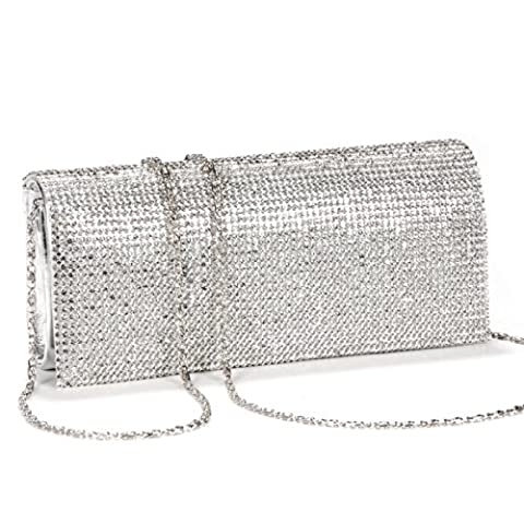 New SILVER CRYSTAL DIAMANTES EVENING CLUTCH WEDDING BAG