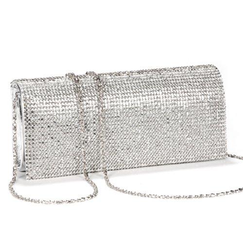 Girly HandBags Frisch Diamante Perlen Clutch Bag Unterarmtasche Hartschalenkoffer Abend Patent Glänzend Hochzeit Diamant Kleine -- Silber