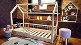 Oliveo HAUSBETT KINDERHAUS Lisa Bett für Kinder,Kinderbett Spielbett mit SICHERHEITBARRIEREN (120 x 60 cm, Naturholz)