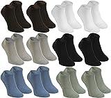 12 paia di calze SNEAKER corte di Bambù per Donne e Uomini, 2x bianche 2x Nero 2x Marrone 2x Beige 2x Jeans 2x Oliva morbide e comode, prodotte nell'UE, Misure 36 37 38 by Rainbow Socks