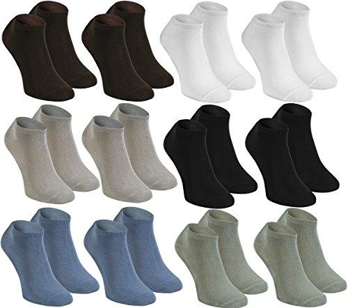 12 pares de calcetines SNEAKER cortos de bambú para señora y caballero, 2x Negro 2x Blanco 2x Beige 2x Oliva 2x Marrón 2x Vaquero fabricados en la UE, Tallas 44 45 46 by Rainbow Socks