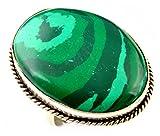 Indie Artisans MALACHITE Ring 925 Silber Overlay Simulierte Edelstein-Frauen-Ring-UK-Ring-Größe R / EU Ring Größe 58,75