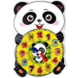 SuperToy(TM) Premium 1 Set Wooden Educational Color Digital Cognitive Learning DIY Clock Model Jigsaw Puzzles Toys Gifts Kids Toys for Children (Panda)
