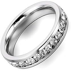 Flongo Edelstahl Ring Silber Weiss Strass Linie Breit 4mm Damen, Größe 57