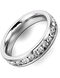 Flongo anillo de acero inoxidable colour plateado línea ancho Rhinestone 4 mm para mujer