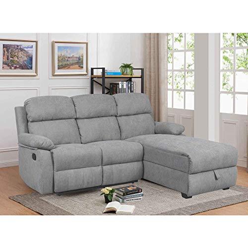 Decoinparis - divano relax con penisola e cassapanca portaoggetti in tessuto keaton - angolo destro